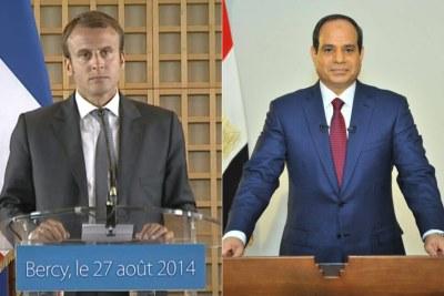 Le président Emmanuel Macron à gauche et son homologue égyptien, Al Sissi