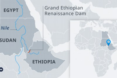 A map showing the location of the Grand Ethiopian Renaissance Dam.