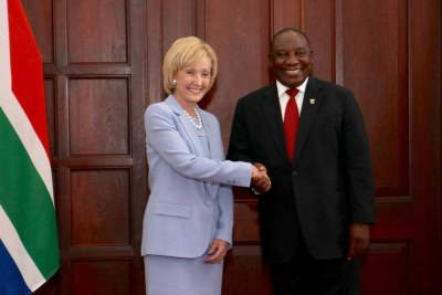 Ambassador Lana Marks presenting credentials as U.S. Ambassador to South Africa to President Cyril Ramaphosa (file photo).