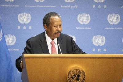 Abdalla Hamdok, Prime Minister of the Republic of the Sudan, briefs reporters following a UN high-level meeting on his country on September 27, 2019.