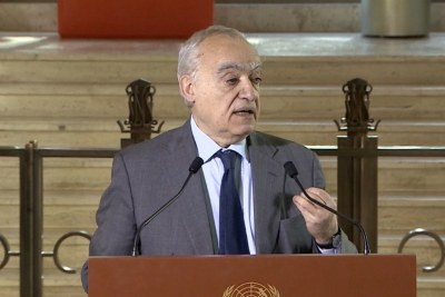Ghassan Salamé, Special Representative of the Secretary-General and Head of the United Nations Support Mission in Libya, speaking at a press stakeout in Geneva, Switzerland, 28 February 2020.