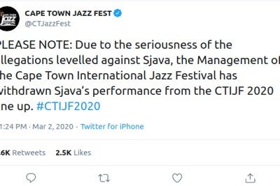Sjava removed from Cape Town International Jazz Fest line-up following rape allegations being made against him (screenshot).