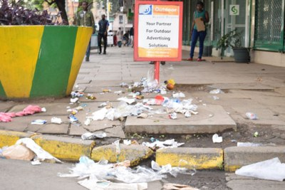 Garbage from bins emptied onto the streets by aggrieved workers.