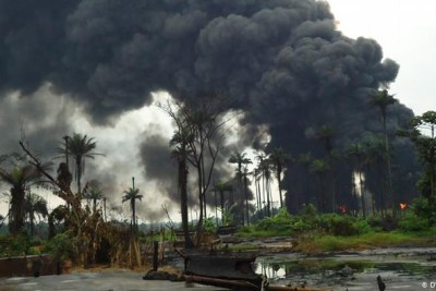 Plumes of smoke in the Niger delta.