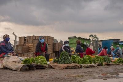 Social distancing in an Nairobi market.