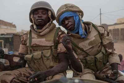 UN peacekeepers from Chad patrol the streets of Kidal, Mali, December 2016.