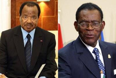 Le président du Cameroun Paul Biya (g.) et Le président de la Guinée Équatoriale Teodoro Obiang (dr.)