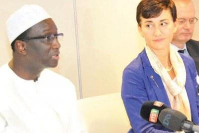 Amadou Ba ministre des Affaires étrangères et la représentante de l'Ue à Dakar