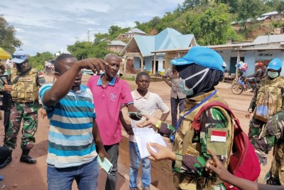 Indonesian female peacekeepers from MONUSCO actively engage in Covid-19 awareness-raising campaigns on disease prevention in Kalemie, DR Congo