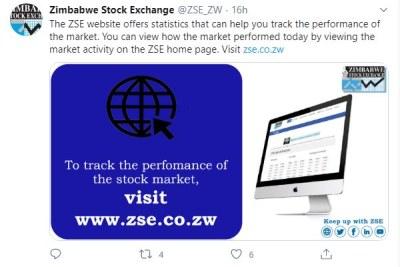 A Zimbabwe Stock Exchange tweet.