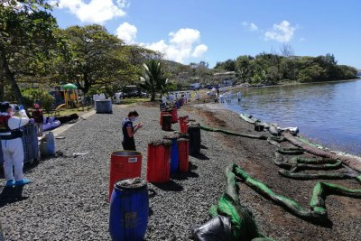 International Organization for Migration staff and experts assess the impact of the oil spill at Bois des Amourettes, Grand Port in Mauritius.