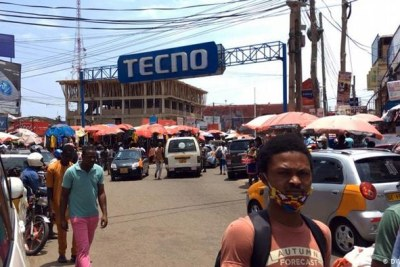 Wearing face coverings and social distancing in public is not always taken seriously in Accra, Ghana (file photo).