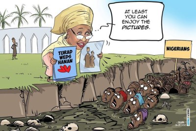 Daily Trust newspaper cartoonist Bulama Mustapha, and his cartoon has been widely circulated on social media.