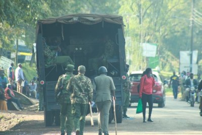 Police are pictured around the Migori County Assembly premises ahead of the tabling of a motion to impeach Governor Okoth Obado.