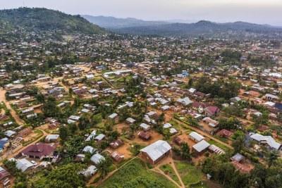 An aerial view of Beni, North Kivu region, Democratic Republic of Congo in January 2019.