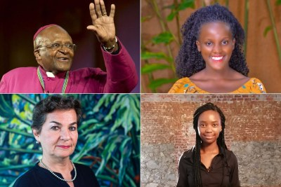 Archbishop Emeritus Desmond Tutu with 10th Desmond Tutu International Peace Lecture speakers Vanessa Nakate (top-right), Christiana Figueres (bottom-left) and Ayakha Melithafa.