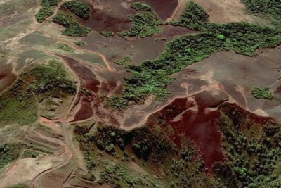 Iron ore mines in the Simandou Mountains in Guinea.