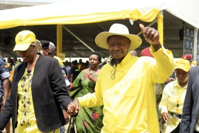 President Yoweri Museveni and his wife Janet during National Resistance Movement delegates conference (file photo).