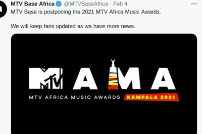 A tweet by MTV Base Africa announcing the postponement of the 2021 MTV Africa Music Awards.