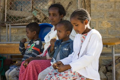 A family displaced from Tigray's western zone who received emergency nutrition from Unicef.