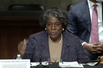 Linda Thomas-Greenfield answering questions during her Senate confirmation hearing.