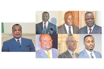 The seven candidtates in the March 2021 election : Denis Sassou N'Guesso, Joseph Kignoumbi Kia-Mboungou, Anguios-Nganguia Engambé, Mathias Dzon, Guy-Brice Parfait Kolélas, Albert Oniangué, Dave Uphrem Mafoula