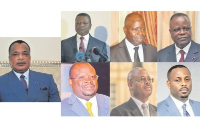 Les sept candidats à la présidentielle du 21 mars : Denis Sassou N'Guesso, Joseph Kignoumbi Kia-Mboungou, Anguios-Nganguia Engambé, Mathias Dzon, Guy-Brice Parfait Kolélas, Albert Oniangué, Dave Uphrem Mafoula