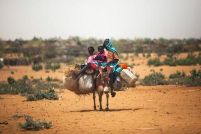 Une femme avec ses enfants sur un âne près du camp de déplacés de Zam Zam, au Nord Darfour (Soudan).