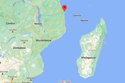 A map showing the location of Palma in northern Mozambique.