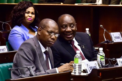President Cyril Ramaphosa, right, with Minister Zweli Mkhize in the Old Assembly Chamber, Parliament in Cape Town, February 19, 2019.
