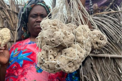 Nasir Hassan Haji holds up her harvested sponges in a bag from her home in Jambiani in Zanzibar, Tanzania. June 21, 2021.