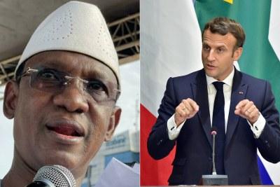 Le Premier ministre malien Chogel Maïga face au chef de l'Etat français, Emmanuel Macron