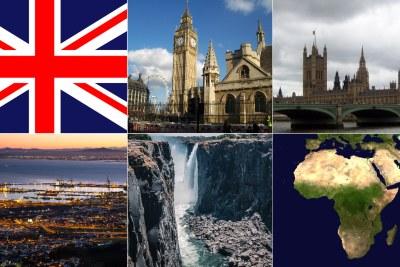 Union Jack, Big Ben, River Thames, Cape Town, Victoria Falls Zimbabwe, African continent